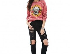 Sweatshirt in Wash with Guns N Roses Print Chicnova online fashion store China