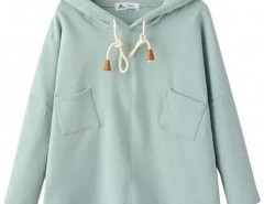 Hooded Sweatshirt with Patch Pockets Chicnova online fashion store China