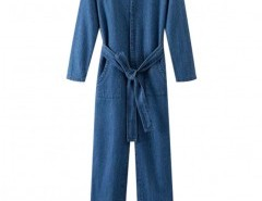 Preppy Style V-neck Denim Jumpsuit Chicnova online fashion store China