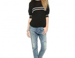 Knitted Sweater with Placement Stripes Chicnova online fashion store China