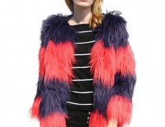 Faux Fur Coat in Shaggy Color Block Longhair Chicnova online fashion store China