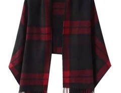 Plaid Cape with Fringed Trim Chicnova online fashion store China