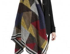 Fringed Cape in Check Chicnova online fashion store China
