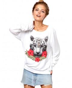 Trimmed Sweatshirt with Tiger Print Chicnova online fashion store China