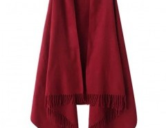 Solid Color Cape with Fringe Chicnova online fashion store China