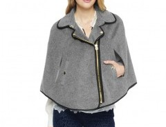 Zip Cape with Leather Look Trim Chicnova online fashion store China