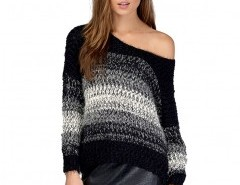 Fluffy Mohair Sweater in Stripe Chicnova online fashion store China