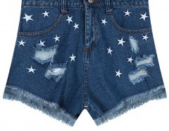Ripped Denim Shorts with Embroidery Chicnova online fashion store China