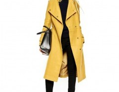 Longline Belted Coat in Yellow Chicnova online fashion store China