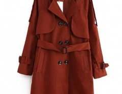 Solid Notch Lapel Trench Coat Chicnova online fashion store China