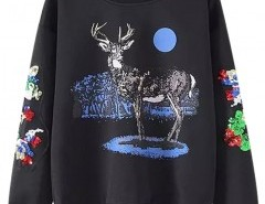 Crew Neck Sweatshirt with Embroidery Chicnova online fashion store China