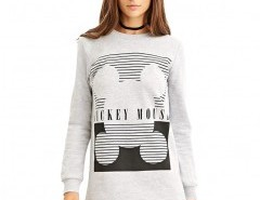 Crew Neck Sweatshirt with Micky Mouse Print Chicnova online fashion store China