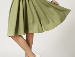 Army Green Bowknot High Waist Skater Skirt Choies.com online fashion store United Kingdom Europe