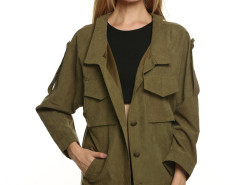 Army Green Casual Pocket Button Front Jacket Choies.com online fashion store United Kingdom Europe