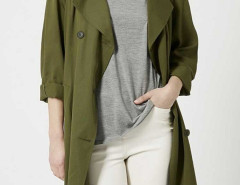 Army Green Lapel Double Breasted Trench Coat Choies.com online fashion store United Kingdom Europe