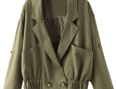 Army Green Lapel Roll Up Sleeve Elastic Hem Short Jacket Choies.com online fashion store United Kingdom Europe