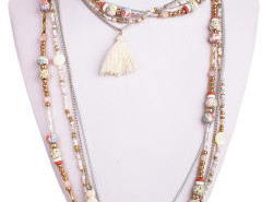 Beige Boho Bead Tassel Multirow Necklace Choies.com online fashion store United Kingdom Europe