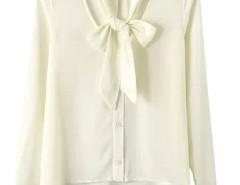 Beige Bow Tie Front V-nevk Long Sleeve Chiffon Shirt Choies.com online fashion store United Kingdom Europe