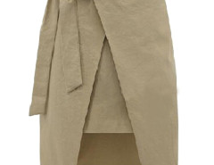 Beige Bowtie Waist Asymmetric Wrap Skirt Choies.com online fashion store United Kingdom Europe