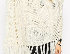 Beige Cowl Neck Cable Sheer Stitch Tassel Hem Cape Jumper Choies.com online fashion store United Kingdom Europe