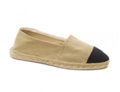 Beige Espadrilles with Black Toecap in Linen - El Botijo Carnet de Mode online fashion store Europe France