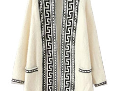 Beige Geo Pattern Trims Longline Faux Fur Cardigan Choies.com online fashion store United Kingdom Europe