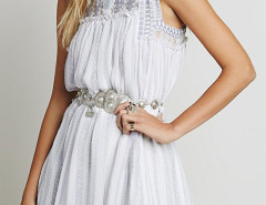 Beige High Neck Embroidery Beaded Crochet Lace Panel Dress Choies.com online fashion store United Kingdom Europe