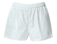 Beige Laser Out Elastic Waist Shorts Choies.com online fashion store United Kingdom Europe