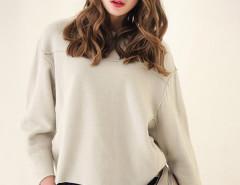 Beige Long Sleeve Loose Thicken Sweatshirt Choies.com online fashion store United Kingdom Europe