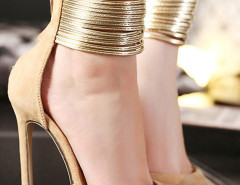 Beige Pointed Metallic Strap Zip Detail High Heeled Pumps Choies.com online fashion store United Kingdom Europe