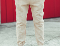 Beige Texture Drawstring Wasit Embroidery Tapered Pants Choies.com online fashion store United Kingdom Europe