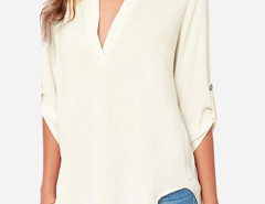 Beige V Neck Roll Up Sleeve Loose Shirt Choies.com online fashion store United Kingdom Europe