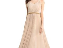 Beige V-neck Lace Panel Shoulder Beaded Waist Pleat Prom Dress Choies.com online fashion store United Kingdom Europe