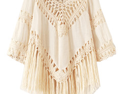 Beige V-neck Laser Cut Asymmetric Tassel Hem Blouse Choies.com online fashion store United Kingdom Europe