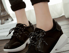 Blace Lace Up Velcro Sneakers Choies.com online fashion store United Kingdom Europe
