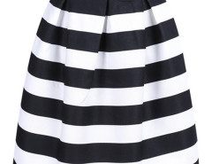 Black And White Stripe High Waist A-line Skirt Choies.com online fashion store United Kingdom Europe