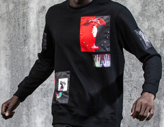 Black Angel And Character Patched Sweatshirt Choies.com online fashion store United Kingdom Europe