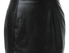 Black Asymmetric Hem PU Bodycon Skirt Choies.com online fashion store United Kingdom Europe