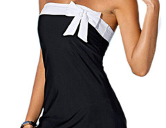 Black Bandeau Contrast Bowknot Side Slit Mini Sleepwear Choies.com online fashion store United Kingdom Europe