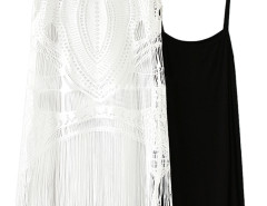 Black Basic Vest And White Crochet Cut Out Tasseled Dress Choies.com online fashion store United Kingdom Europe