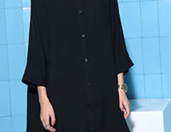 Black Batwing Long Sleeve Button Up Shirt Dress Choies.com online fashion store United Kingdom Europe