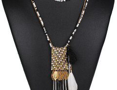 Black Bead Metallic Leaf And Feather Pendant Multirow Necklace Choies.com online fashion store United Kingdom Europe