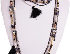 Black Boho Bead Tassel Multirow Necklace Choies.com online fashion store United Kingdom Europe