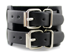 Black Buckle Strap Leather Bracelet Pack Choies.com online fashion store United Kingdom Europe
