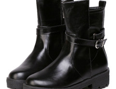 Black Buckle Strappy Asymmetric Ankle Boots Choies.com online fashion store United Kingdom Europe
