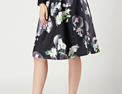 Black Camellia Print Pleats High Waist Skirt Choies.com online fashion store United Kingdom Europe