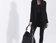 Black Cardigan with Synthetic Leather Details Carnet de Mode online fashion store Europe France