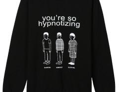 Black Cartoon And Letter Print Long Sleeve Sweatshirt Choies.com online fashion store United Kingdom Europe