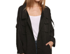 Black Casual Pocket Button Front Jacket Choies.com online fashion store United Kingdom Europe