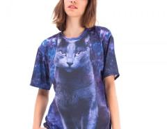 Black Cat Printed Polyester Tshirt Carnet de Mode online fashion store Europe France